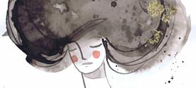 Espo OMAGGIO A LORA LAMM, La donna nido. Inchiostro di china, acquarello, collage. 18x25cm ©lauramengani