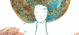 Espo OMAGGIO A LORA LAMM, La donna mondo. Inchiostro di china, acquarello, collage. 18x25cm ©lauramengani
