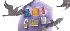 Espo OMAGGIO A LORA LAMM, La donna stabile. Inchiostro di china, acquarello, collage. 18x25cm ©lauramengani