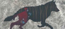 Cappuccetto rosso, matita colorata e carta seta, 29x22 cm © lauramengani