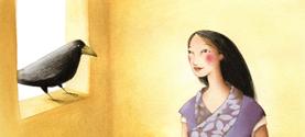 CENERENTOLA Tibet, acquerelli a colori vegetali, collage. 21x21 cm ©lauramengani
